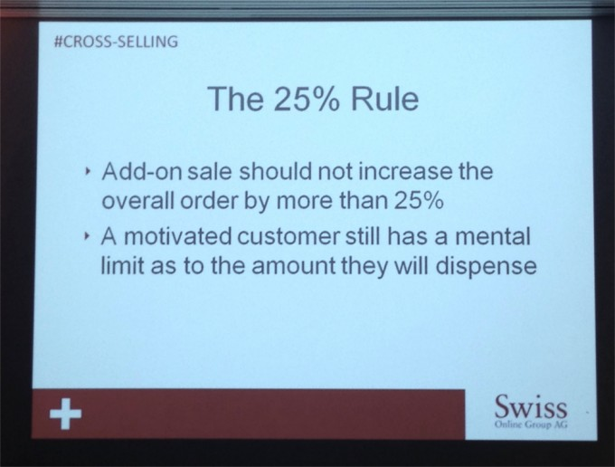 Stick to the rules in cross-selling - Livio Sidler named guiding values for maximum cross selling amount at Meet Magento CH