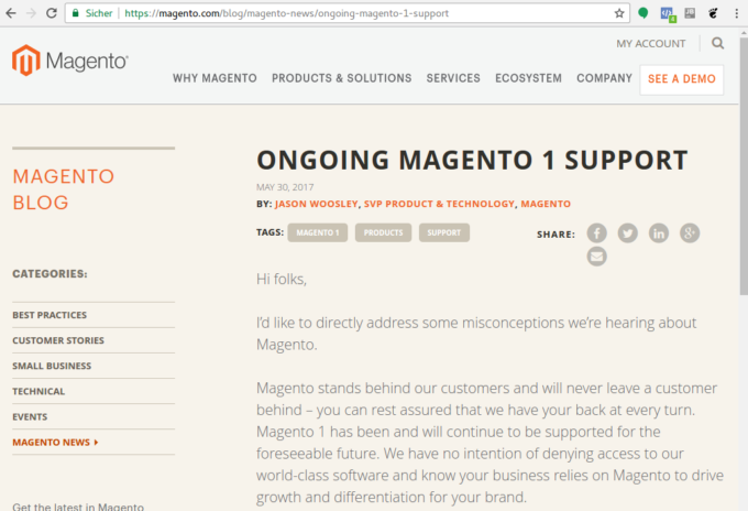 End of Life of Magento 1 postponed by Magento Inc.